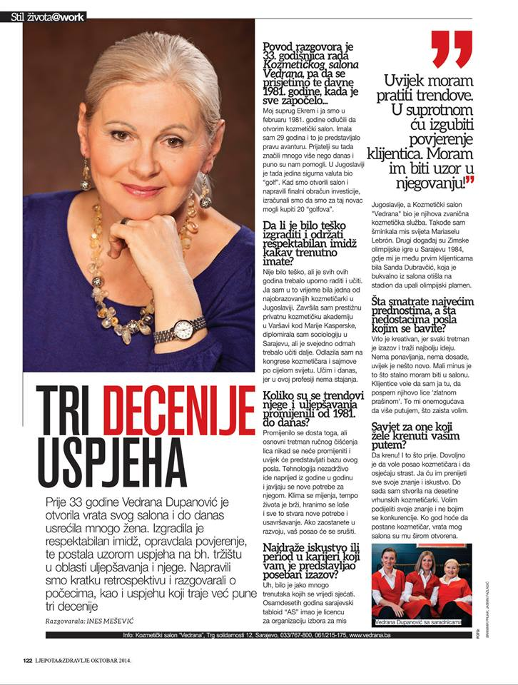 Intervju objavljen u magazinu Ljepota i zdravlje (2014.)